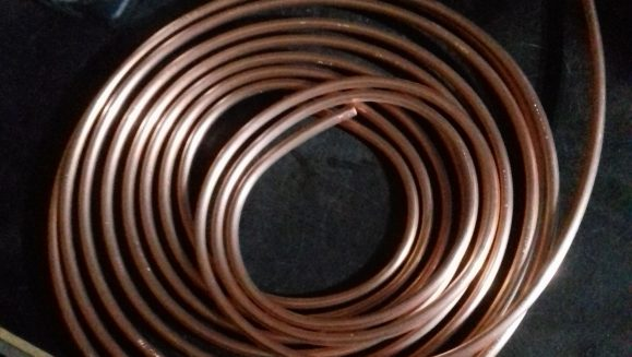 Copper tube coil on the workbench