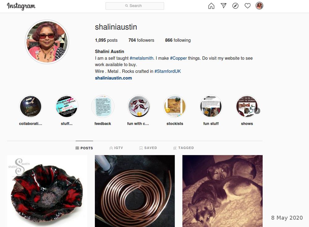 Shalini Austin Metalsmith's Instagram profile
