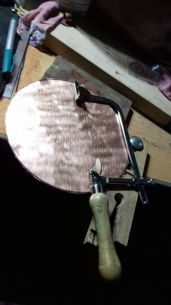 Reclaimed copper Bowl - sawing a circle