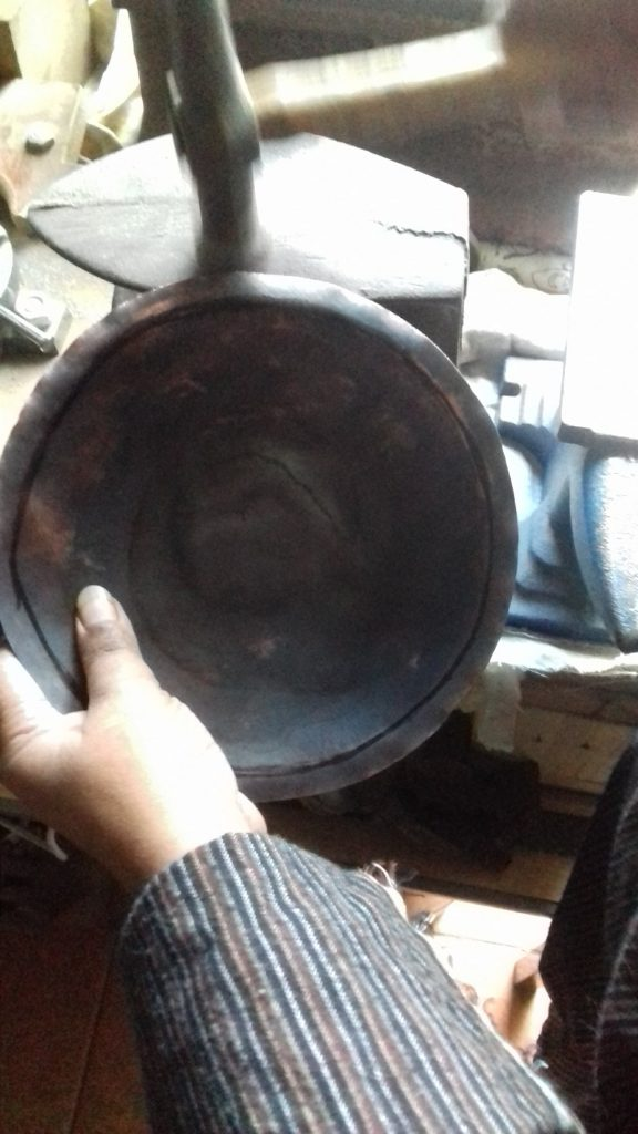 Reclaimed copper Bowl - flattening the rim
