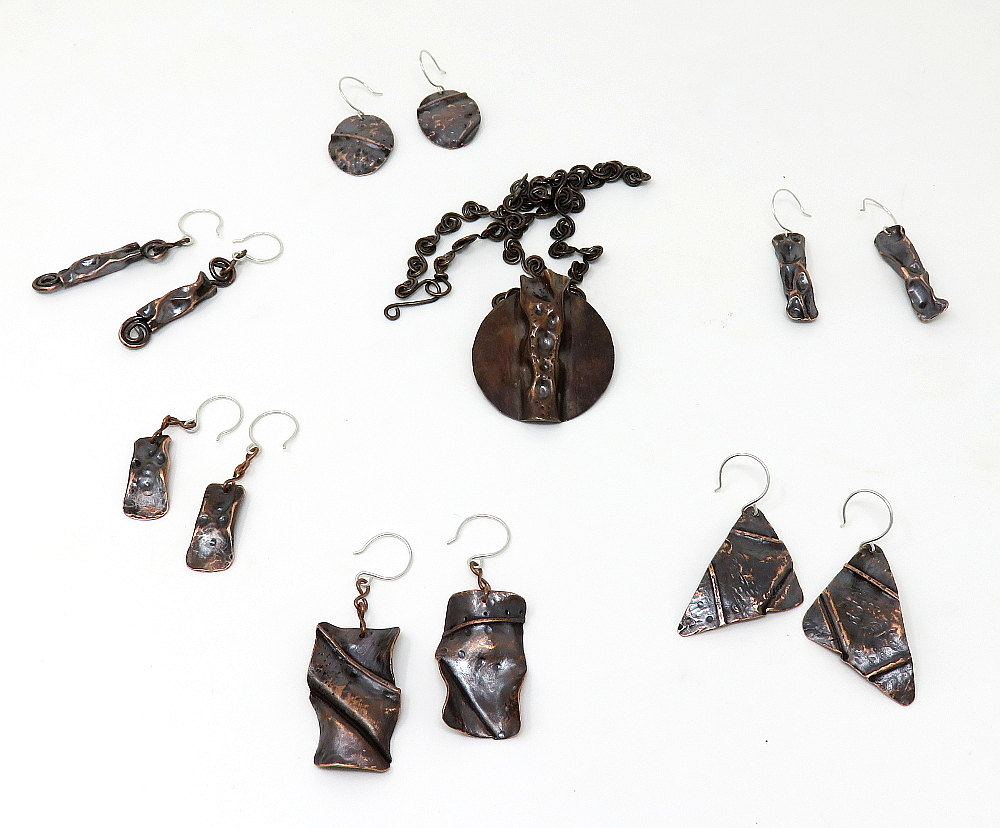 Copper Earrings to match Air chased pendant