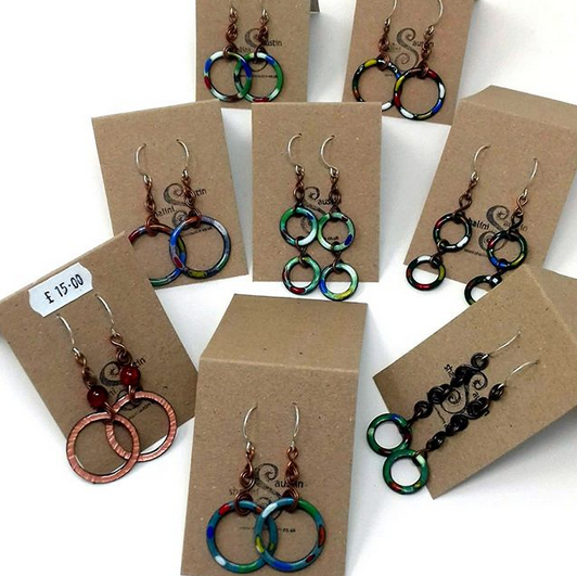 Several Enamelled Copper Circle Earrings added to my online shop today. Do have a look!