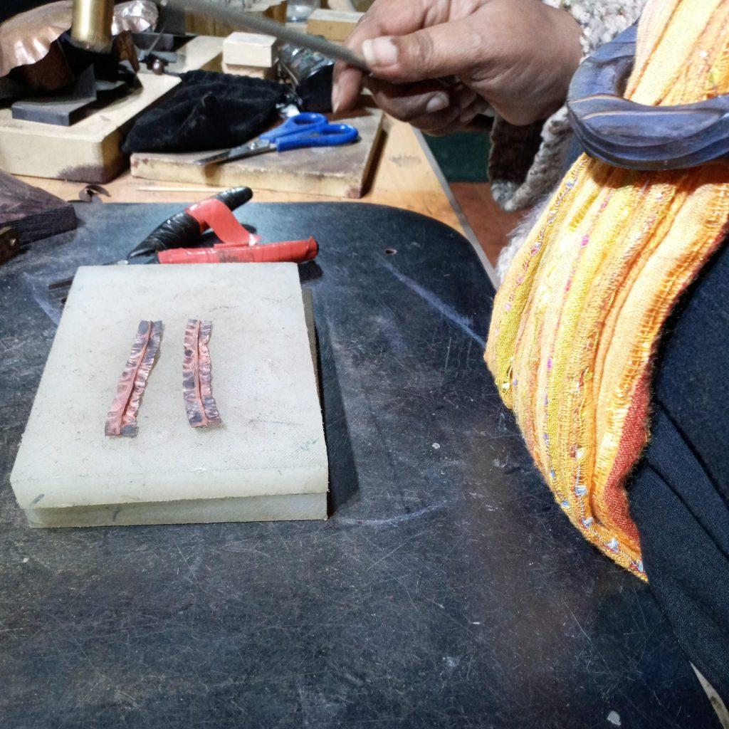 Opened  Fold Formed Copper Earrings