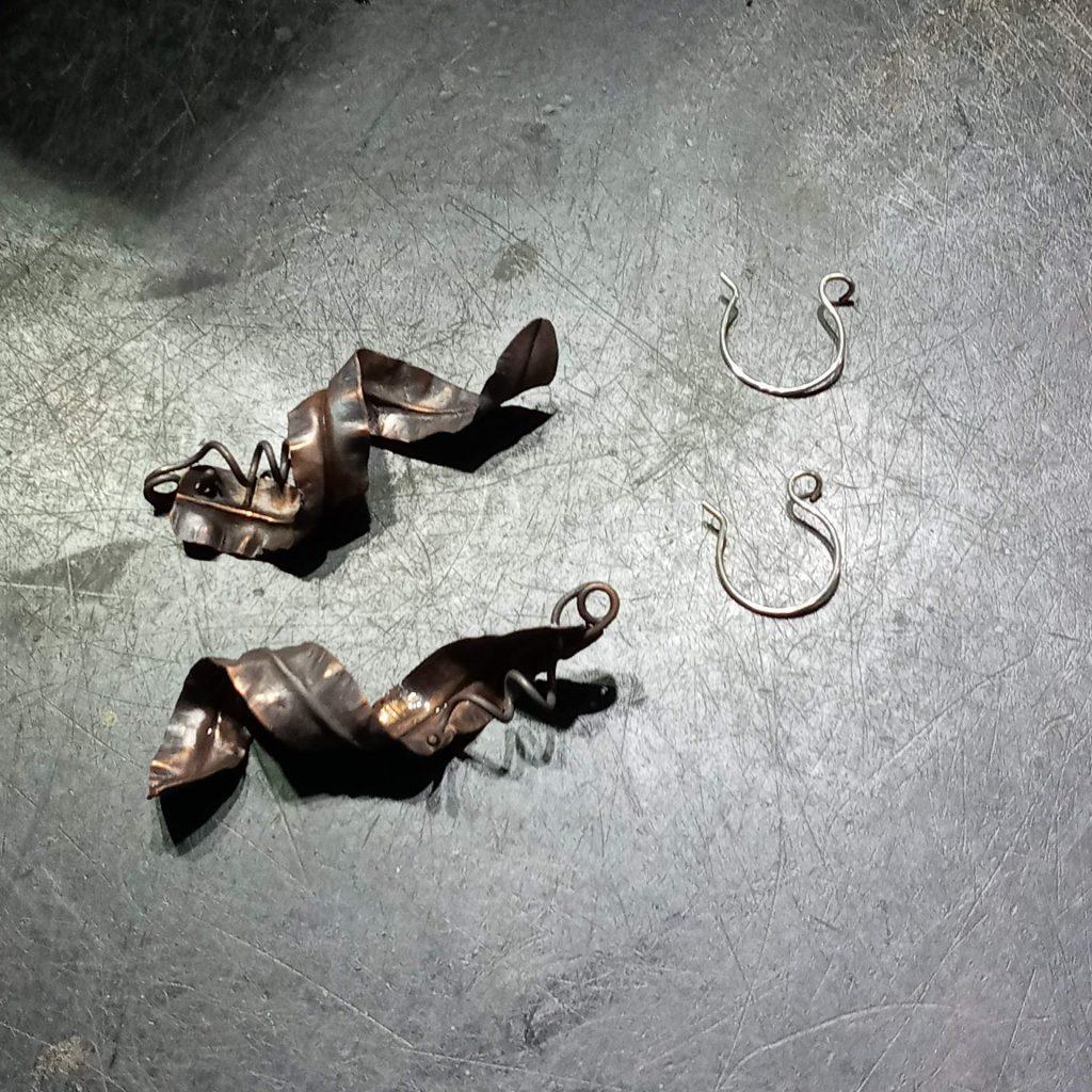 Fold Formed Copper Earrings ready for earwires